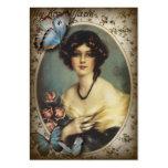 Señora elegante Fashion de París de la mariposa Plantilla De Tarjeta De Visita
