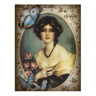 Señora elegante Fashion de París de la mariposa Tarjeta Postal