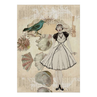 señora elegante Fashion de París del vintage del s Póster