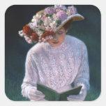 Señora elegante Reading del Victorian de la bella Colcomanias Cuadradas