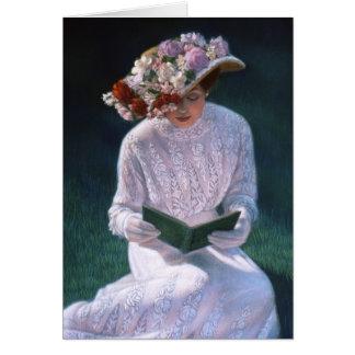 Señora elegante Reading del Victorian de la bella  Tarjeta