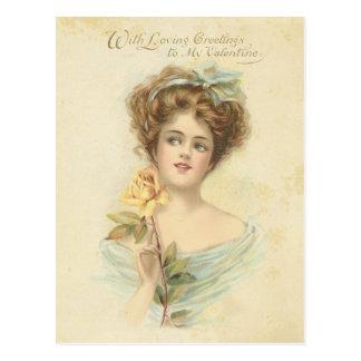 Señora elegante rosa amarillo del el día de San Va Postales