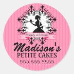 Señora elegante Silhouette Pink de la panadería de Etiquetas Redondas