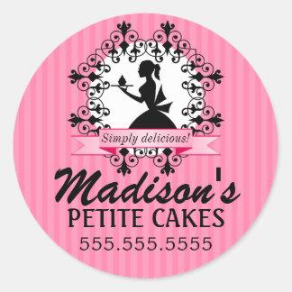 Señora elegante Silhouette Pink de la panadería de Pegatina Redonda