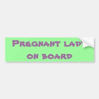 Señora embarazada a bordo pegatina para coche