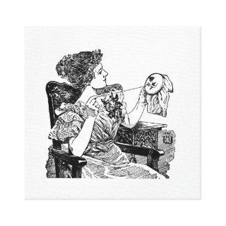 Señora Embroidery del vintage Impresión En Lienzo Estirada