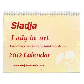 Señora en calendario del arte