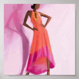 Señora en el vestido rosado poster