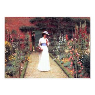 Señora en invitaciones de un jardín invitación 12,7 x 17,8 cm