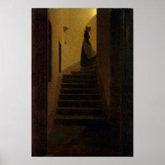 Señora en la escalera póster