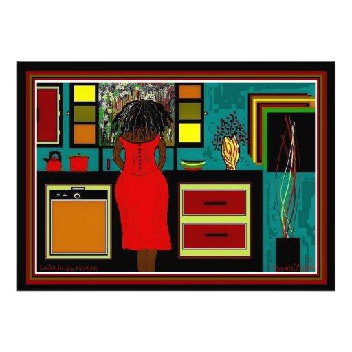 Señora en la impresión de la cocina 34x24 fotografía