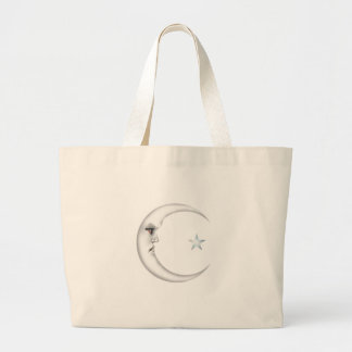 Señora en la luna bolsa tela grande