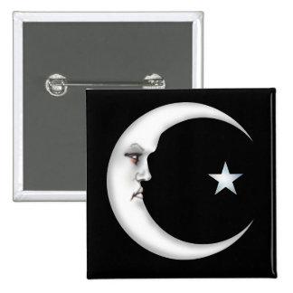 Señora en la luna pin cuadrada 5 cm