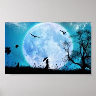 señora en la luna póster