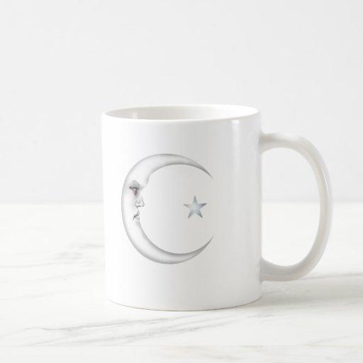 Señora en la luna tazas de café