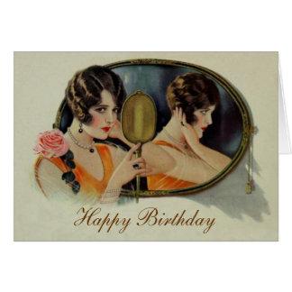 Señora en la tarjeta de cumpleaños de los años 20
