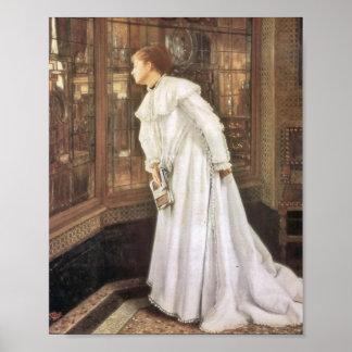 Señora en las escaleras póster