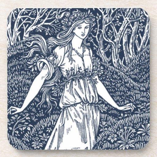señora en las maderas posavasos de bebidas