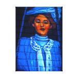 señora en lona azul impresión de lienzo