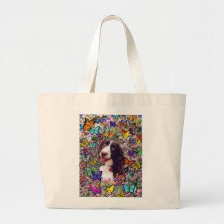 Señora en mariposas - perro del perro de aguas de bolsa tela grande