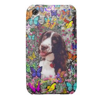 Señora en mariposas - perro del perro de aguas de Case-Mate iPhone 3 protectores