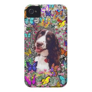 Señora en mariposas - perro del perro de aguas de Case-Mate iPhone 4 cobertura