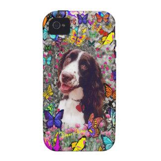 Señora en mariposas - perro del perro de aguas de iPhone 4/4S carcasa