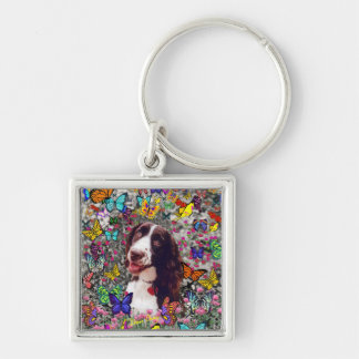 Señora en mariposas - perro del perro de aguas de llavero cuadrado plateado