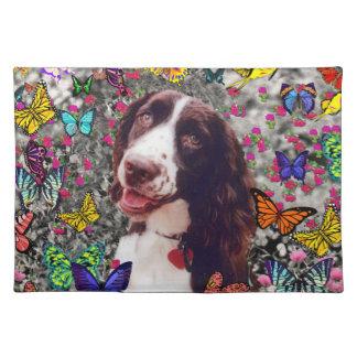 Señora en mariposas - perro del perro de aguas de  manteles individuales