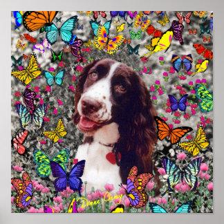 Señora en mariposas - perro del perro de aguas de  impresiones