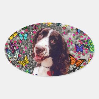 Señora en mariposas - perro del perro de aguas de pegatina ovalada