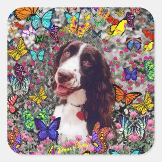 Señora en mariposas - perro del perro de aguas de pegatina cuadrada