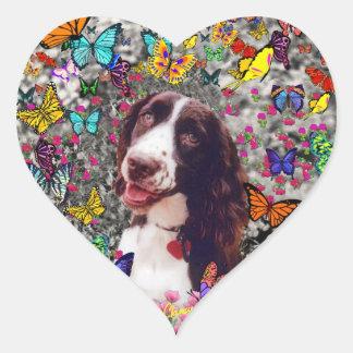 Señora en mariposas - perro del perro de aguas de pegatina en forma de corazón