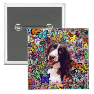 Señora en mariposas - perro del perro de aguas de pin cuadrada 5 cm