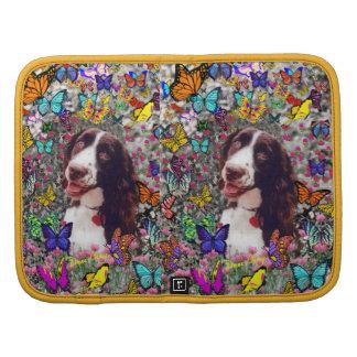 Señora en mariposas - perro del perro de aguas de  planificadores