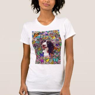 Señora en mariposas - perro del perro de aguas de  tee shirt