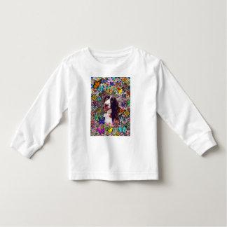 Señora en mariposas - perro del perro de aguas de camisetas