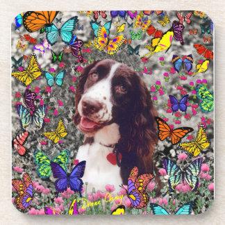 Señora en mariposas - perro del perro de aguas de posavasos de bebidas