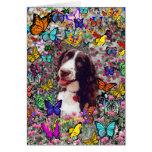 Señora en mariposas - perro del perro de aguas de tarjeta pequeña