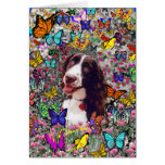 Señora en mariposas - perro del perro de aguas de  tarjeton