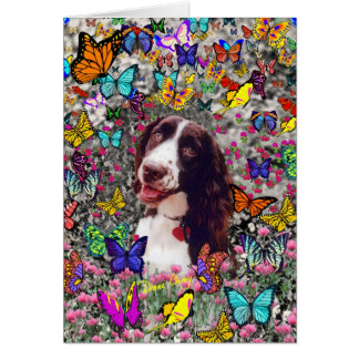 Señora en mariposas - perro del perro de aguas de  tarjeta de felicitación