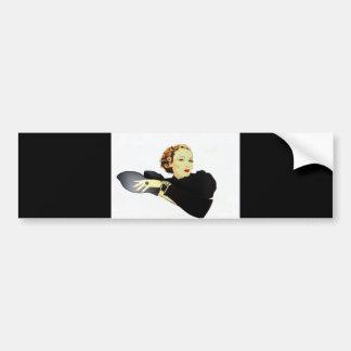 señora en negro etiqueta de parachoque
