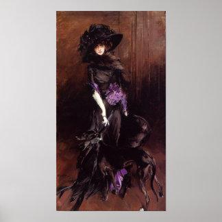 Señora en negro con un poster del galgo