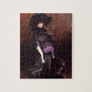 Señora en negro con un rompecabezas del galgo