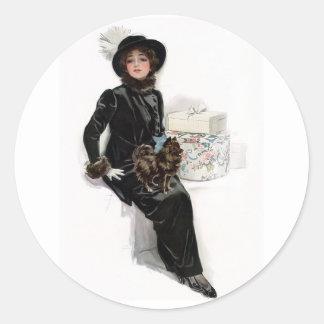 Señora en negro pegatina redonda
