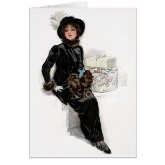 Señora en negro tarjeta de felicitación