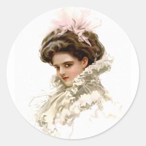 Señora en perfil pegatina redonda