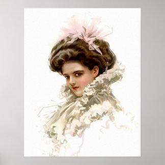 Señora en perfil póster