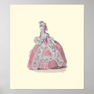 Señora en placa de moda rosada de la impresión del póster