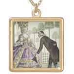 """Señora en """"promenade"""" de un vestido de la lila en  colgante cuadrado"""